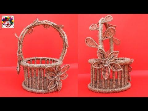DIY Jute and Newspaper Flower Basket    Jute new craft idea    art and craft