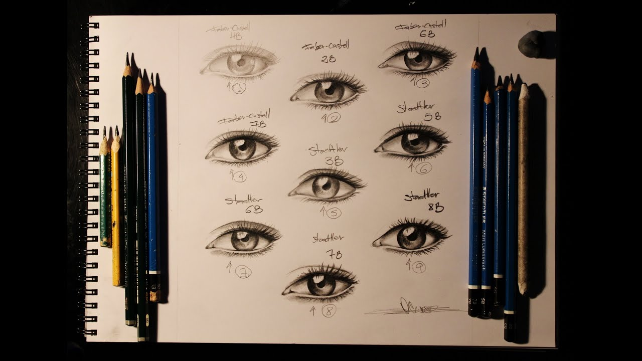 Speed Drawing Realistic Eyes Pencils Faber X Staedtler Youtube