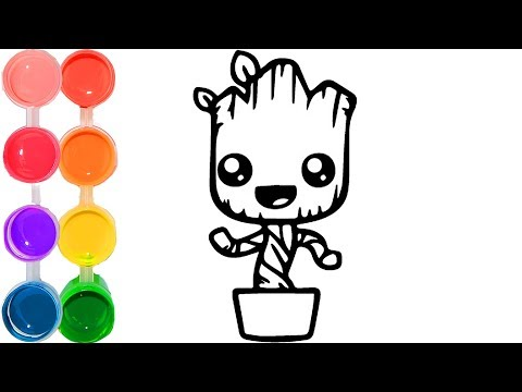 how-to-draw-&-color-a-cute-baby-groot-|-family-art-cartooning-|-step-by-step-drawing-tutorial