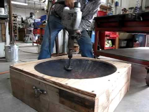 "Copper Gardens 32"" Bowl being hammered with Bosch Jack hammer"