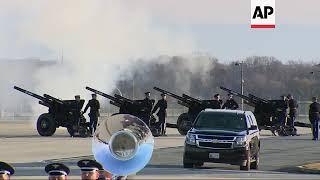 Former US President George HW Bush's casket lands in Maryland