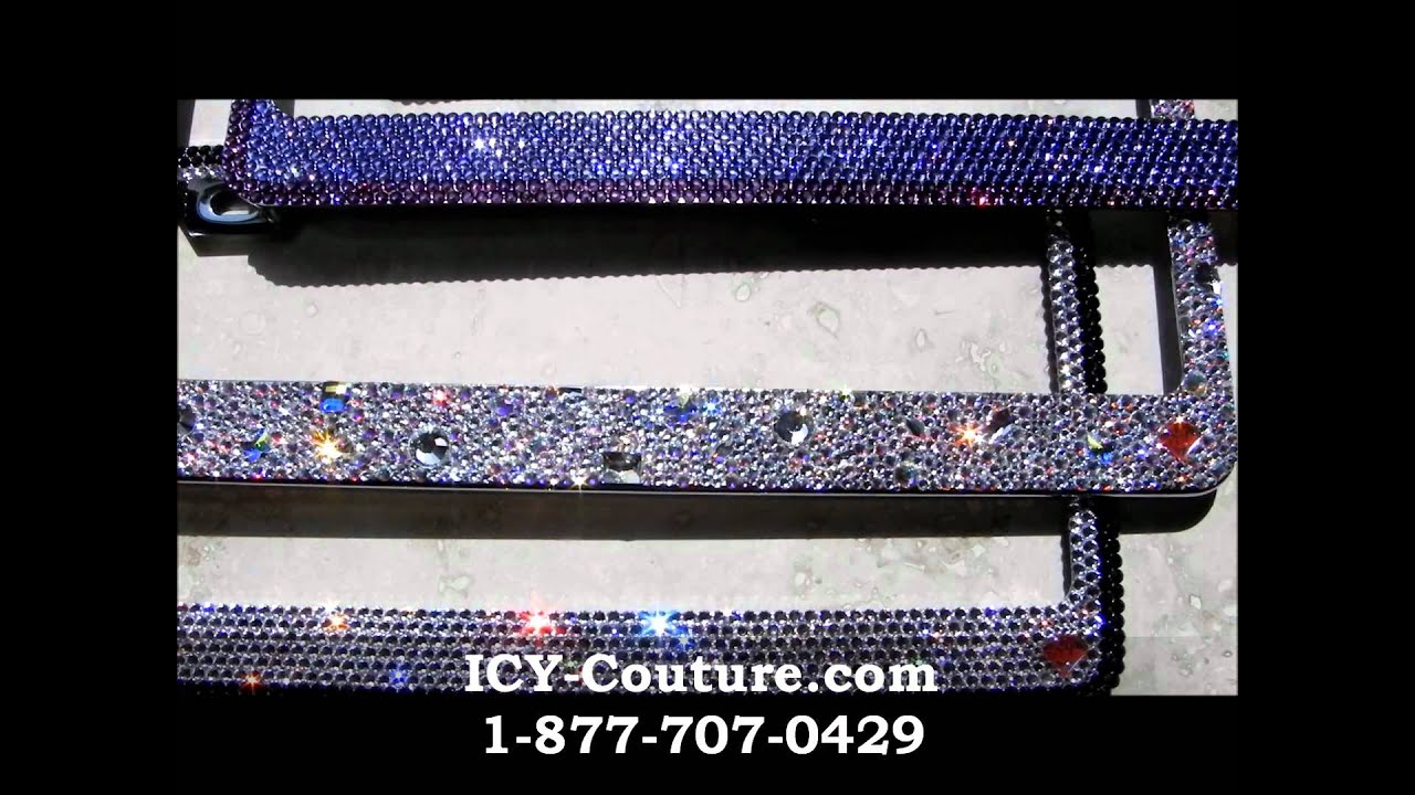 custom crystal license plate frames