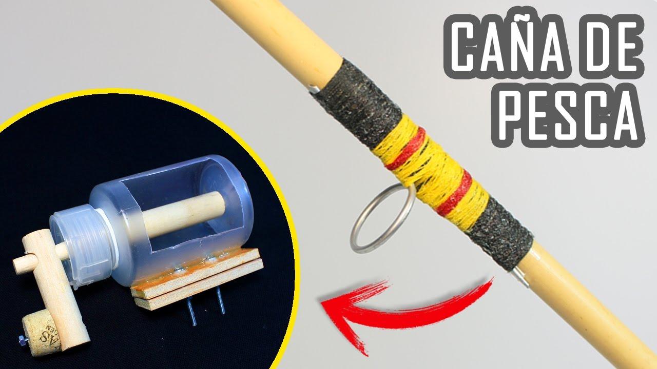 Ca a de pescar casera y carrete de pesca casero youtube for How to make a fishing rod
