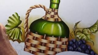 Garrafão uvas e queijo – Vídeo 3 – Pintura em tecido