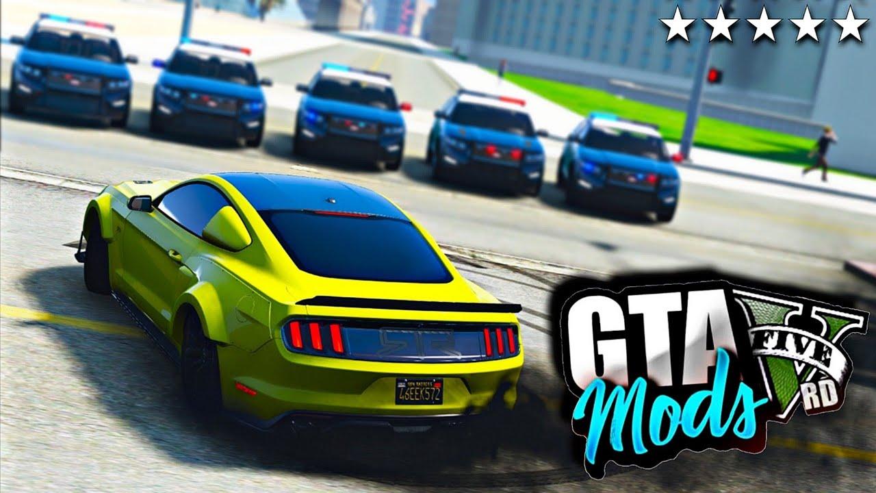 GTA V : FUGA DA POLICIA EM LAS VEGAS DE MUSTANG GT!! ( NO VOLANTE ) - GTA 5 MODS