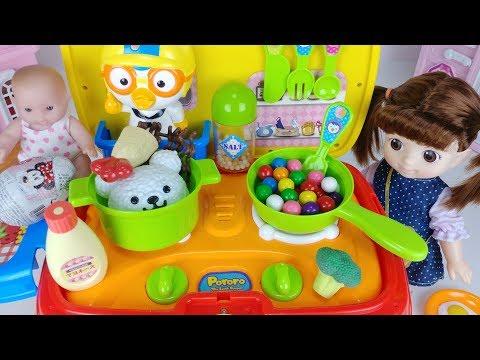 Baby doll kitchen car toys cooking food and surprise eggs play 아기인형 뽀로로 주방놀이 자동차 장난감 음식 요리놀이 - 토이몽