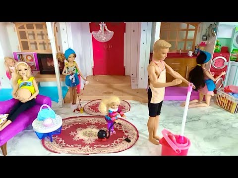 Barbie Family Cleaning Dream House Day Routine Barbie-Familien-Reinigungs-Traumhaus-Tagesprogramm