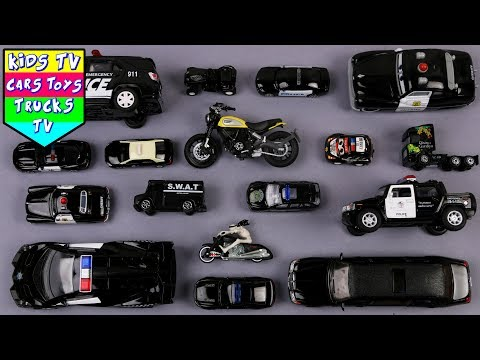 Learn Black Color With Vehicles For Kids | Colors For Kids | Kids Learning Video | Police Car Taxi