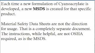 The Various Cyanoacrylate MSDS As Well As Their Significance