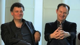 Repeat youtube video An interview with Steven Moffat and Mark Gatiss - Sherlock: Series 3 - BBC One