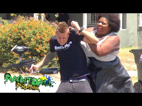Crazy Public Paintball Prank!!