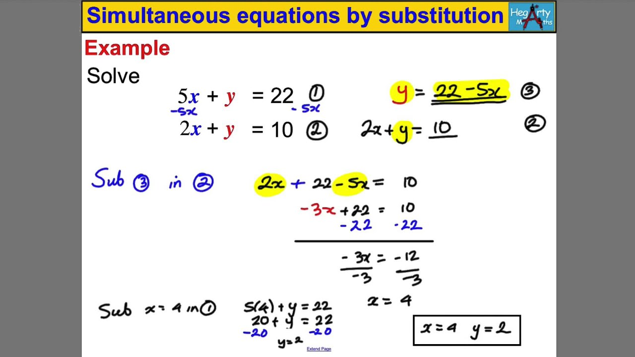 Edexcel Gcse Maths Simultaneous Equations With A Quadratic