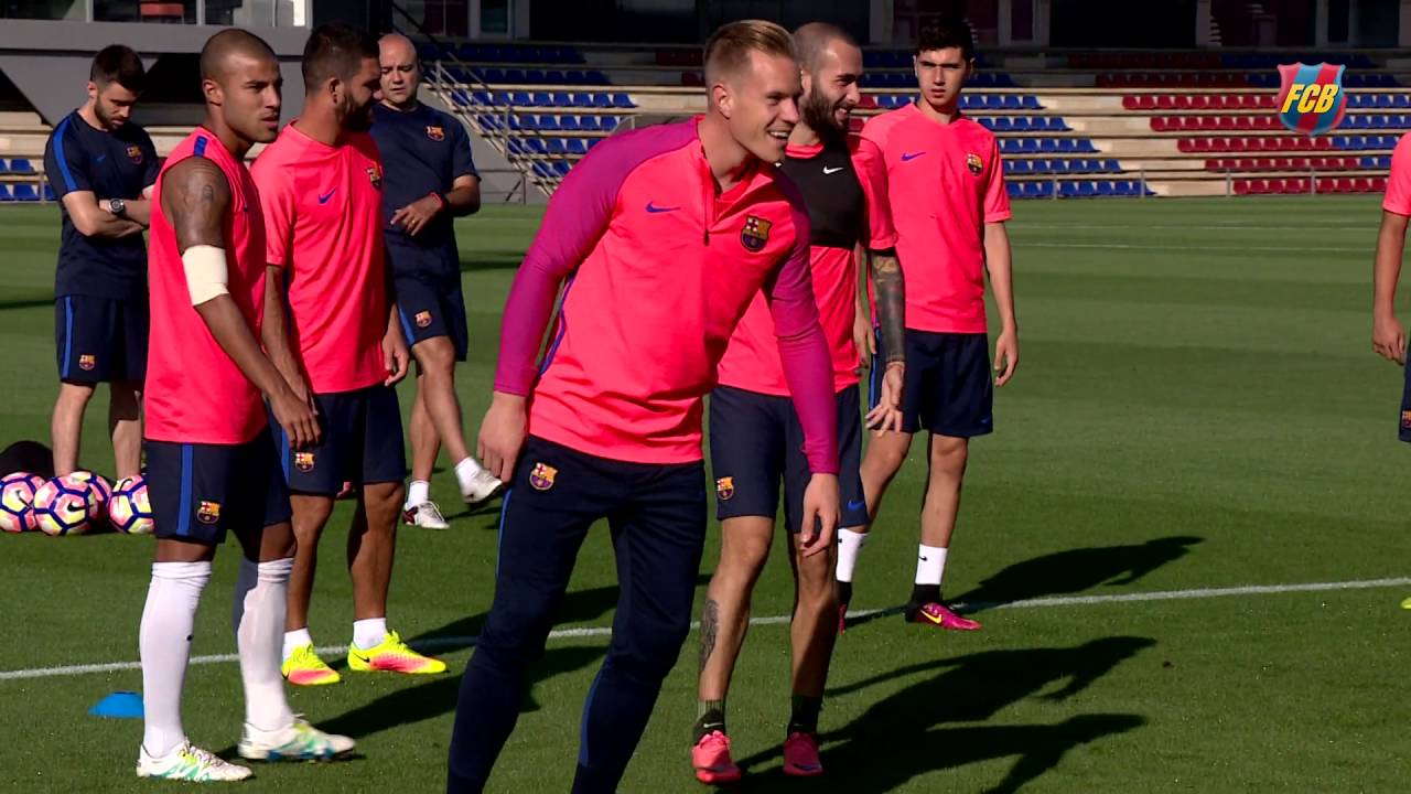 cf12f46dd FC Barcelona training session  Ter Stegen joins second training of the week  - YouTube
