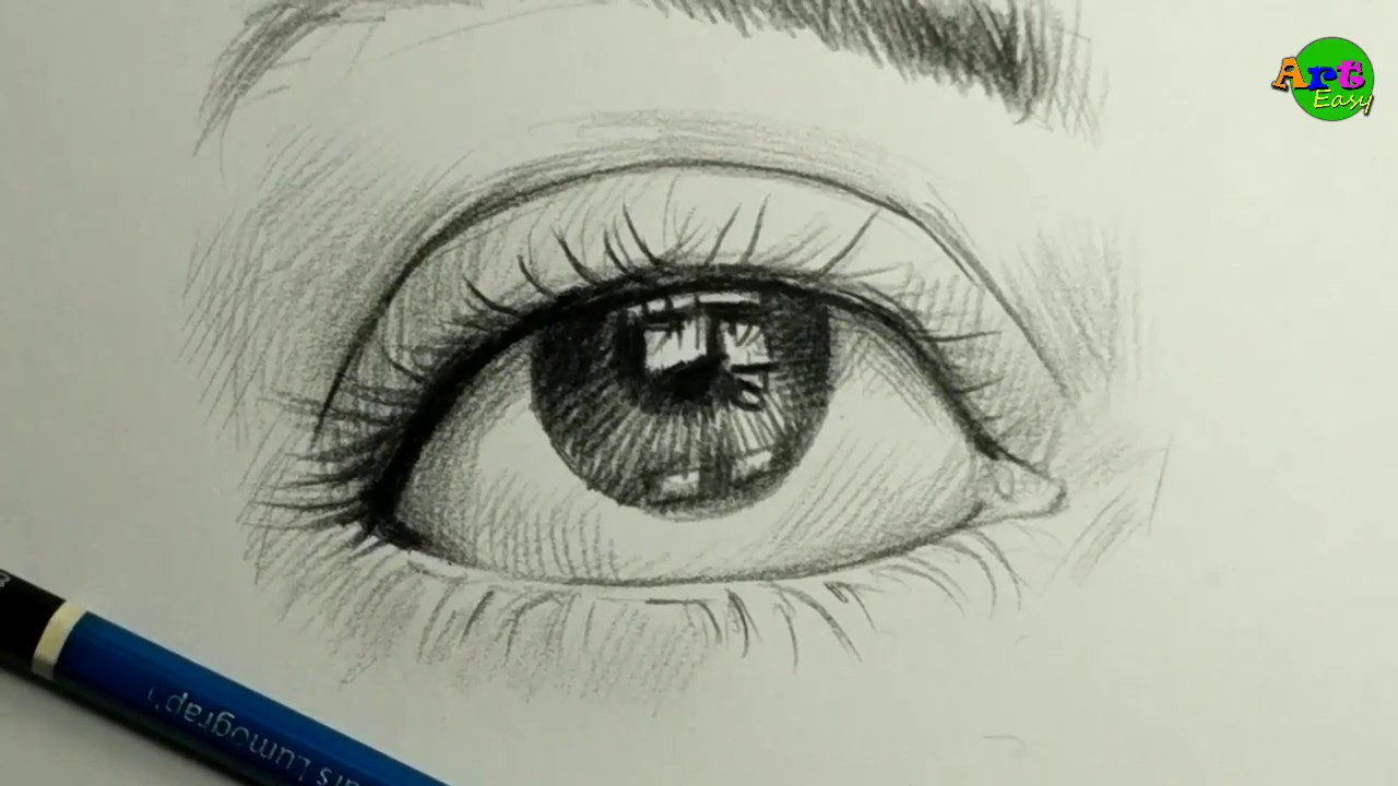 Very Easy Realistic Eye Drawing With Cross Hatching Technique