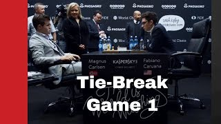 Carlsen - Caruana World Championship Match 2018, Tie-Break Game 1