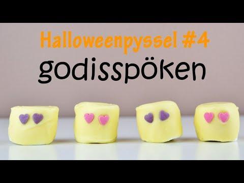 Halloweengodis av marshmallows   söta spöken