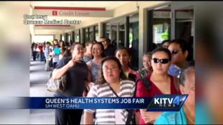 Employment seekers line up at the Queen