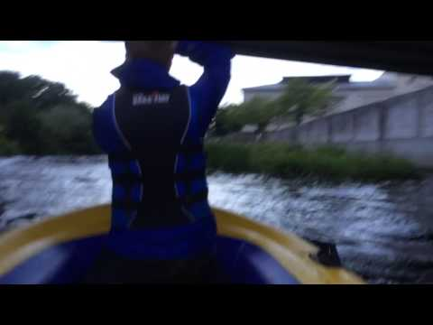 Dinghy down the river Lagan lisburn falling rapids