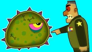 Суровый ЛИЗУН ГЛАЗАСТИК подбирается к ВОЕННОЙ БАЗЕ! Игра Tales from Space Mutant Blobs Attack