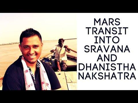 MARS TRANSIT INTO SRAVANA AND DHANISTHA NAKSHATRA 2018