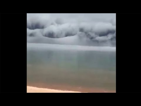Wave-Like Shelf Cloud vs. Rolling Over Lake In Michigan Caught On Camera