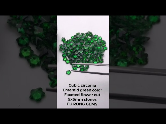 Loose Cubic Zirconia Faceted flower cut 5x5mm green color gemstones suppliers