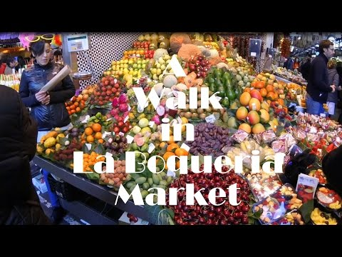 A Walk In La Boqueria food market - Barcelona, Spain 2016 GoPro Hero4 Session.
