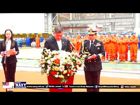 Keel Laying of Littoral Mission Ship (LMS) 1 and First Steel Cutting of LMS 2 in Wuhan, China