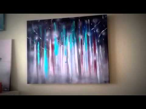 Abstract Painting Mystical Forest Acrylic And Spray