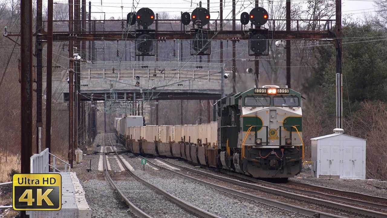 freight and passenger trains on the amtrak keystone