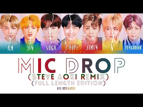 BTS (방탄소년단) - MIC Drop (Steve Aoki Remix) (Full Length Edition) [Color Coded Lyrics/Han/Rom/Eng] indir