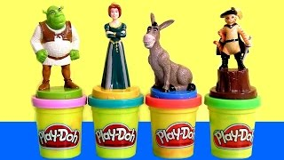 """Play Doh SHREK Stampers with Princess Fiona Donkey Shrek """"Puss in Boots"""" PlayDough by ToyCollector"""