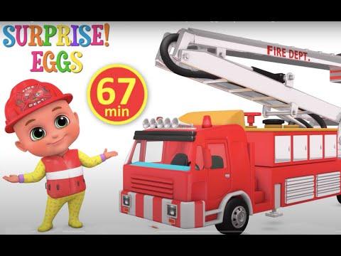 Fire Truck, Excavator,