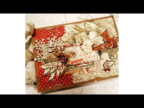 "Virág Réti – Mixed Media Scrapbook Tutorial – #6 – ""Vintage Christmas Card"""