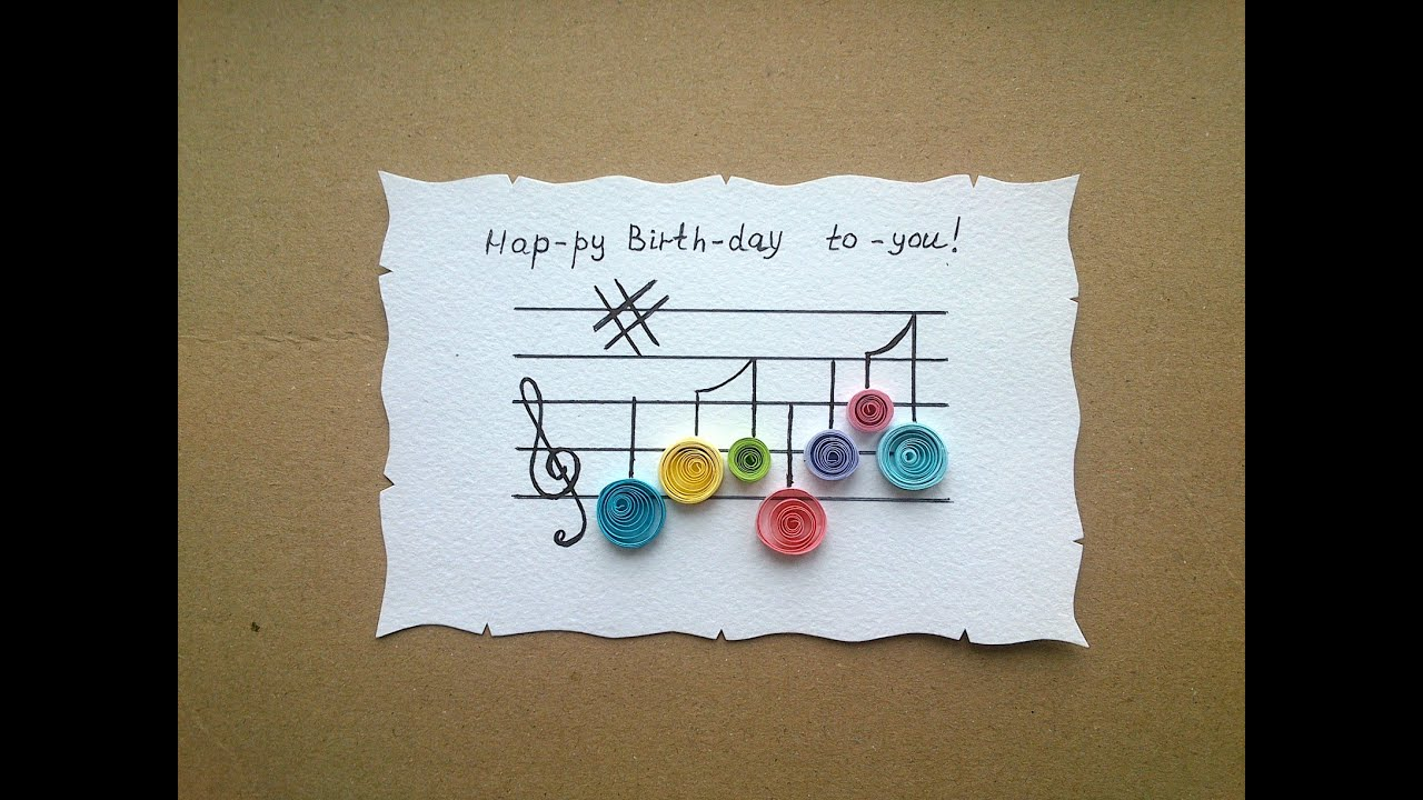 Easy Birthday Cards For Friends ~ Paper quilling card simple quilling birthday card youtube