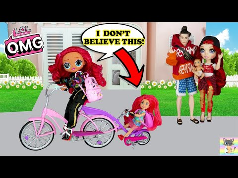 New Bicycle - LOL Family OMG Dolls Back to School Morning Routine Barbie Doll Dreamhouse Adventure! thumbnail