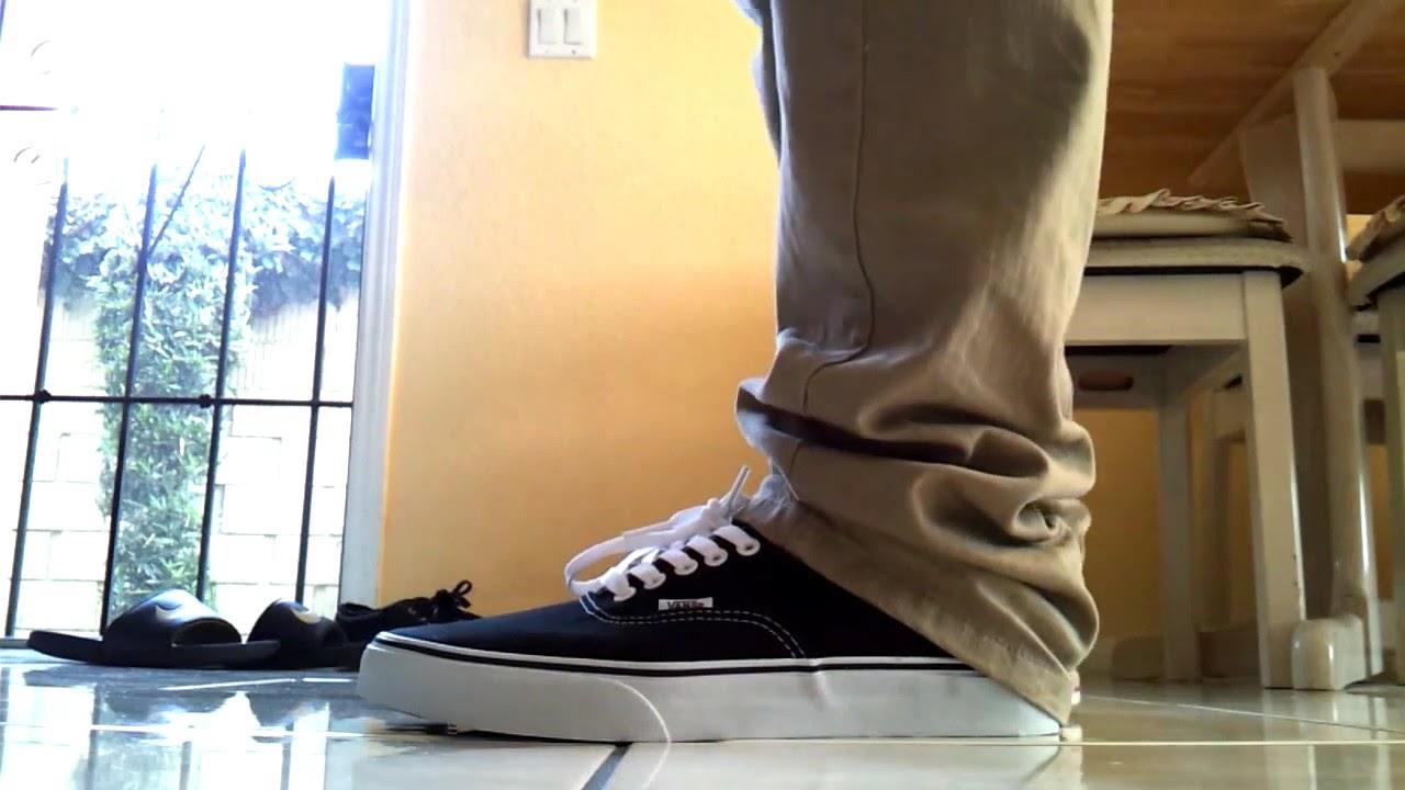 Vans Authentic Black/White on Feet - YouTube