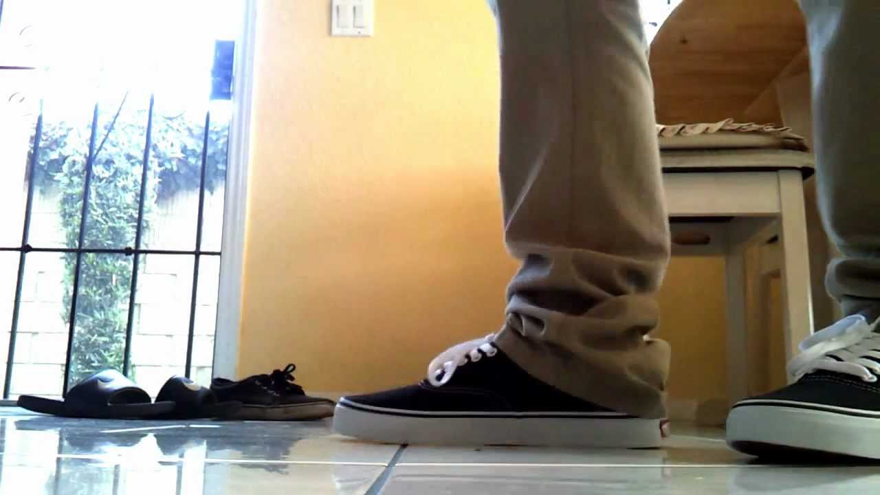 25e9688bf0b Vans Authentic Black White on Feet - YouTube