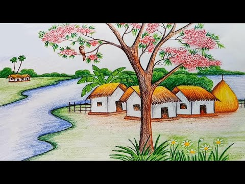 How to draw  scenery of spring season step by step