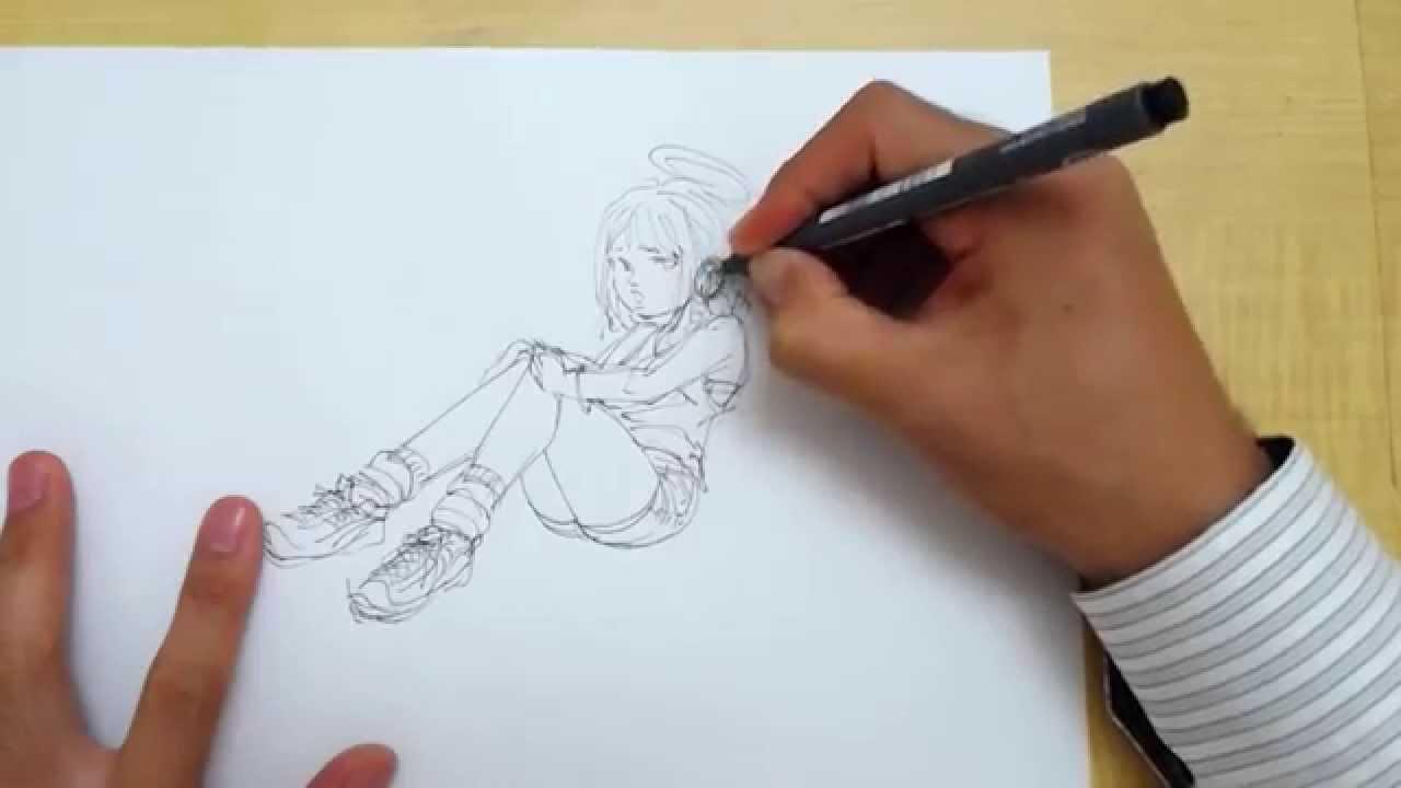 イラストの描き方羽を持った少女的なキャラstep1ペン Youtube