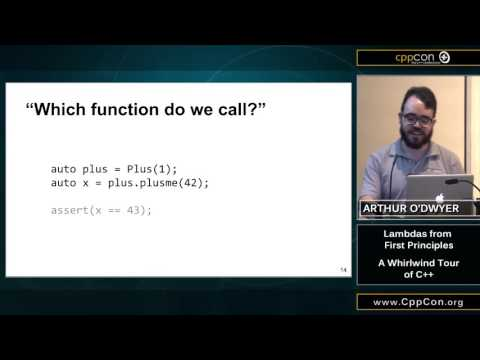 "CppCon 2015: Arthur O'Dwyer ""Lambdas from First Principles: A Whirlwind Tour of C++"""""