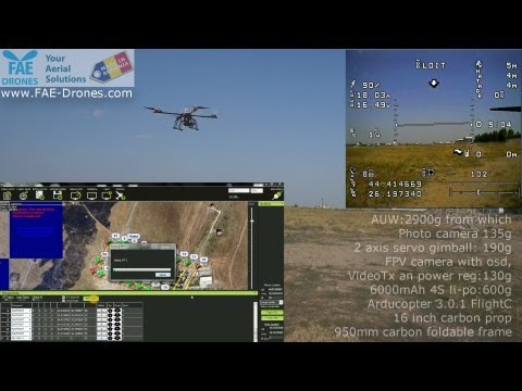 aerial topography quadcopter-17 minutes with payload and one 6A battery flight
