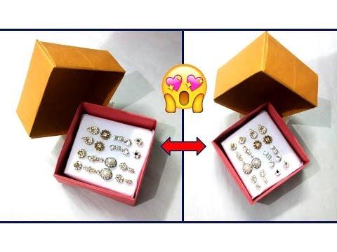 DIY Jewellery Box//Handmade Earring Organizer//Easy Paper Gift Box //