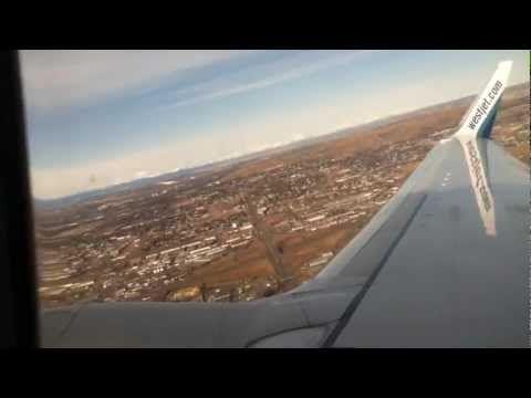 Takeoff from Calgary Airport (YYC) on WestJet 737