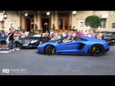 [Walkaround & Driving] LOUD ARAB Matt Blue Lamborghini Aventador Roadster DMC Parking In Monaco !