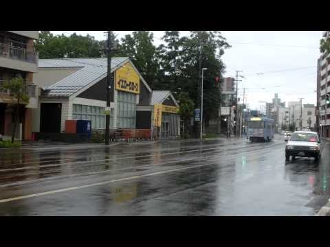 函館市電 Japan Hakodate City Tram ( Street Car ) 8007 In The Rain