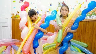 Colors Song - Nursery Rhymes | LaLa Kids pretend play with Balloons
