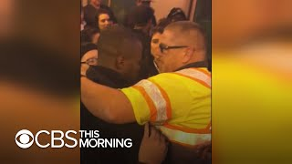 Transit worker shares dramatic rescue of man who fell on train tracks