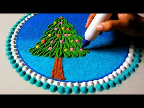 Easy Christmas tree rangoli for kids | Christmas eve rangoli design | rangoli for school competition