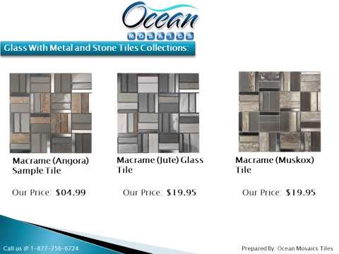 Glass With Metal and Stone Tiles by Ocean Mosaics Tiles